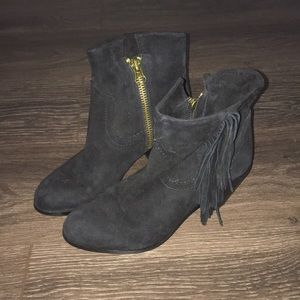 Sam Edelman black booties with fringe size 8